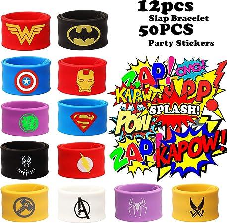 Amazon.com: 12 pulseras de superhéroe para niños y niñas ...