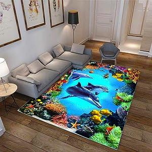 KFEKDT 3D Ocean Carpet Corridor Aisle Carpet Hotel Entrance Corridor Bedroom Mat Kitchen Floor Mat Living Room Carpet A7 50x120cm