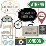Big Dot of Happiness World Awaits - Travel Party Photo Booth Props Kit - 20 Count