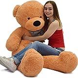 "WOWMAX 4 Foot Light Brown Giant Huge Teddy Bear Cuddly Stuffed Plush Animals Teddy Bear Toy Doll 47"""