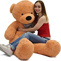 Roner Giant Teddy Bear Stuffed Animals Life Size Plush Toy Doll for Girlfriend Girl Children 55 Inches Light Brown 4.5 feet