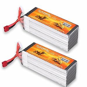 FLOUREON 2Packs 6S 22.2V 4500mAh 45C LiPo Battery Packs with T Plug for RC Evader BX Car RC Truck RC Truggy RC Airplane UAV Drone FPV