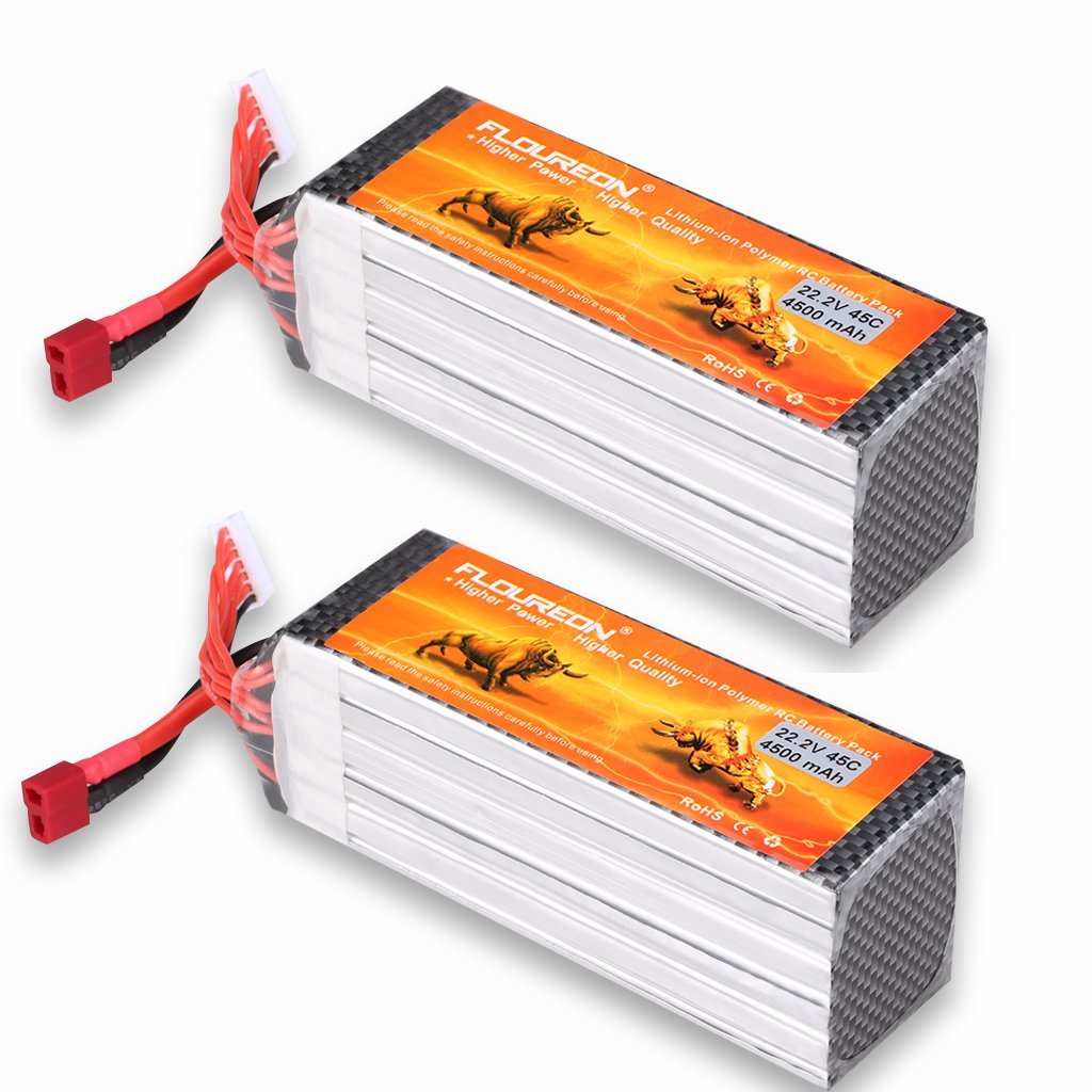 Floureon 2 Packs 6S 22.2V 4500mAh 45C Lipo Battery with XT60 Plug for RC Quadcopter Airplane Helicopter Car Truck (5.31 x 1.77 x 2.08 Inch)