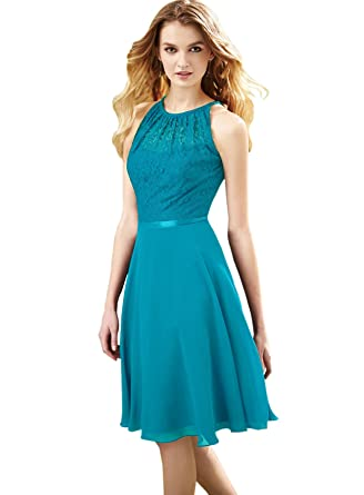 a0a643889b Zhongde Juniors Scoop Neck Chiffon Bridesmaid Dress Short Lace Formal Party  Gown with Belt Aqua Blue