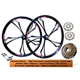 "26"" Bicycle MTB Mountain Bike Magnesium Alloy Rear Front Wheel Set Wheelset + 7 Speed Shimano Freewheel 160mm Disc Rotors Sealed Bearings Screw-on Hubs Black White Red Blue Colour (DISC BRAKE COMPATIBLE ONLY)"
