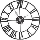 Horloge pendule murale en métal style vintage - diamètre 40 cm - Coloris MARRON effet vieilli