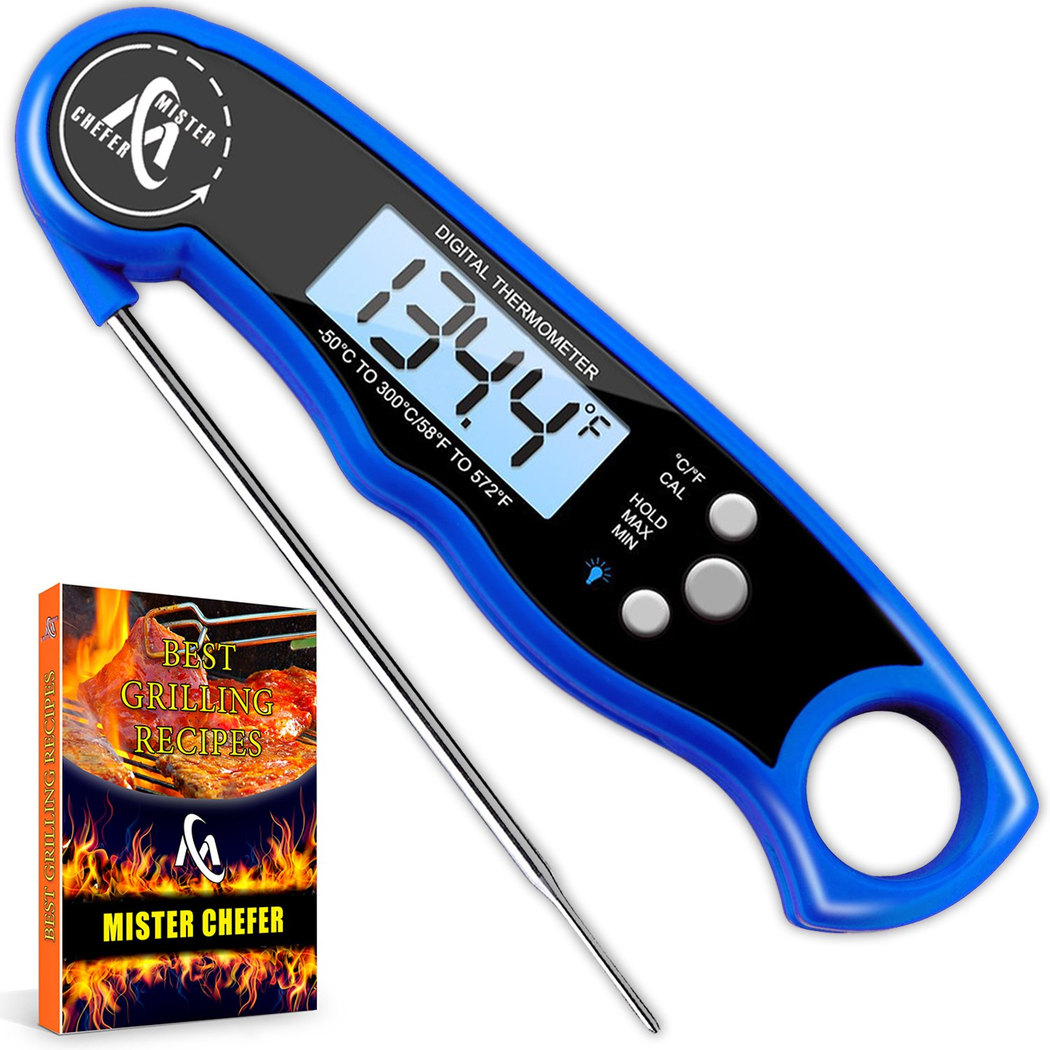 Digital Meat Thermometer - Best Waterproof Instant Read Thermometer with Calibration and Backlight functions (Blue)