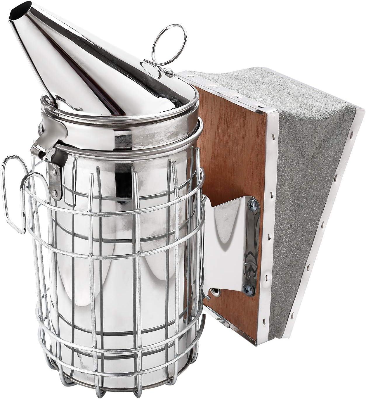 HunterBee Bee Hive Smoker Stainless Steel with Heat Shield Beekeeping Beehive Equipment