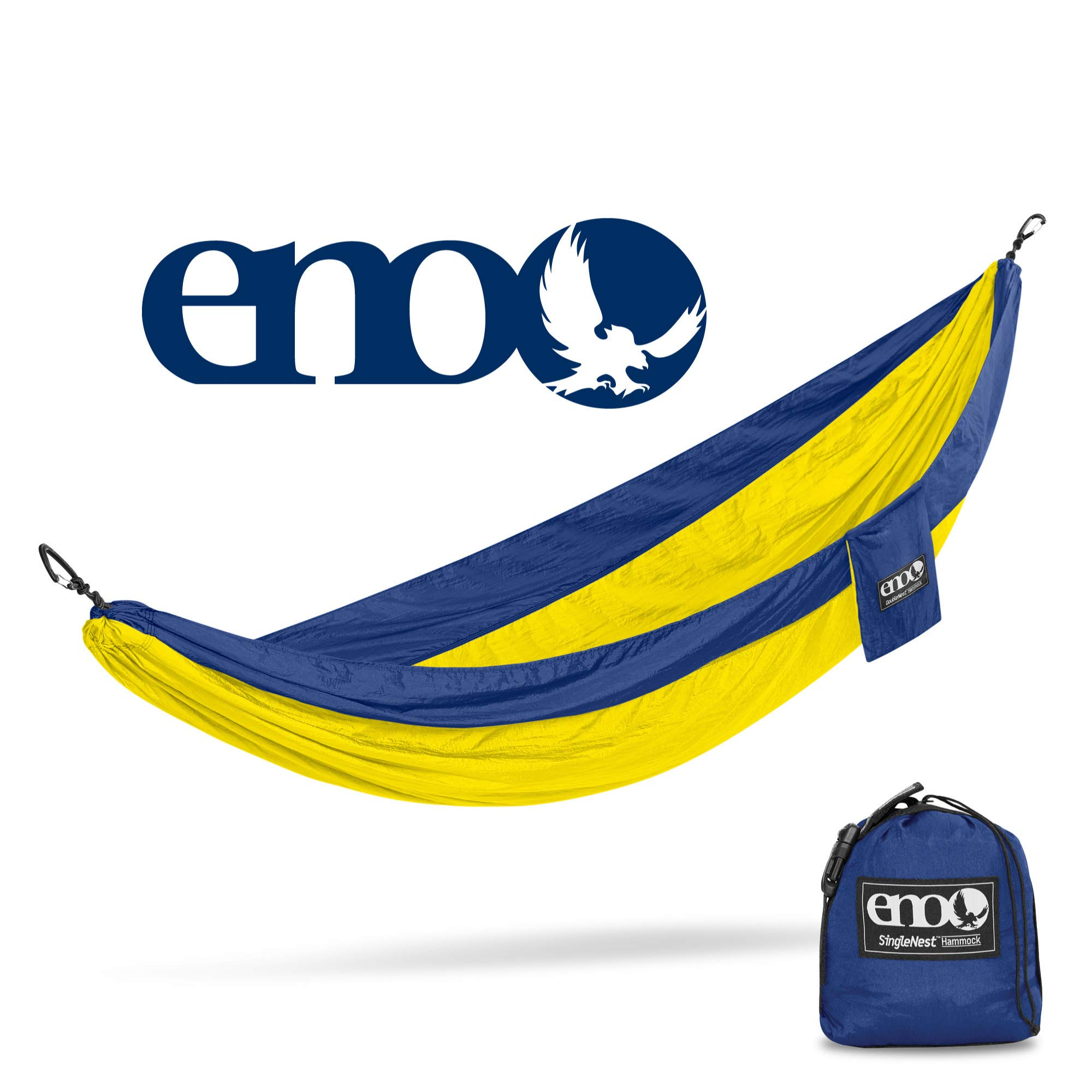 ENO - Eagles Nest Outfitters SingleNest Hammock, Portable Hammock for One, Sapphire/Yellow by ENO