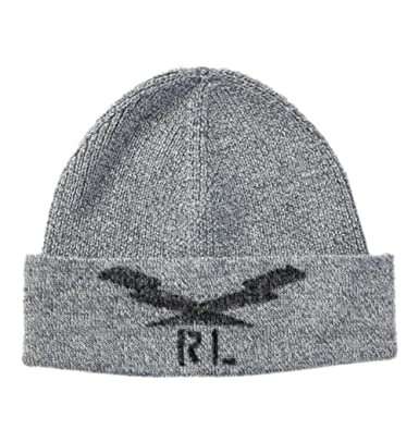 8ba0cdc79e0 PRL Polo Ralph Lauren Men s Lightning Bolt Wool Beanie Hat - Grey ...