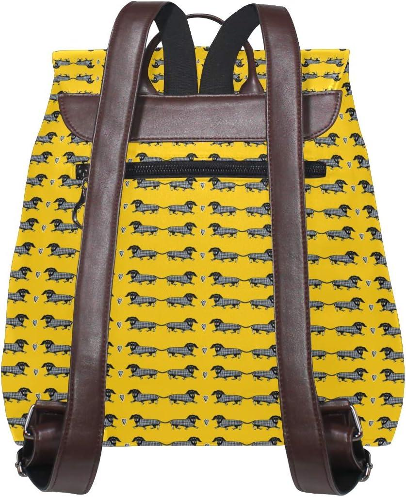 Leather Dachshund Dog Print Yellow Backpack Daypack Elegant Ladies Travel Bag Women Men