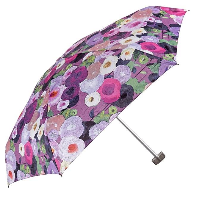Paraguas súper Mini y Ultraligero Plegable - de Mujer con Flores Plano Perletti Chic antiviento - Compacto para Bolso y de Viaje - Repelente al Agua - 92 cm ...