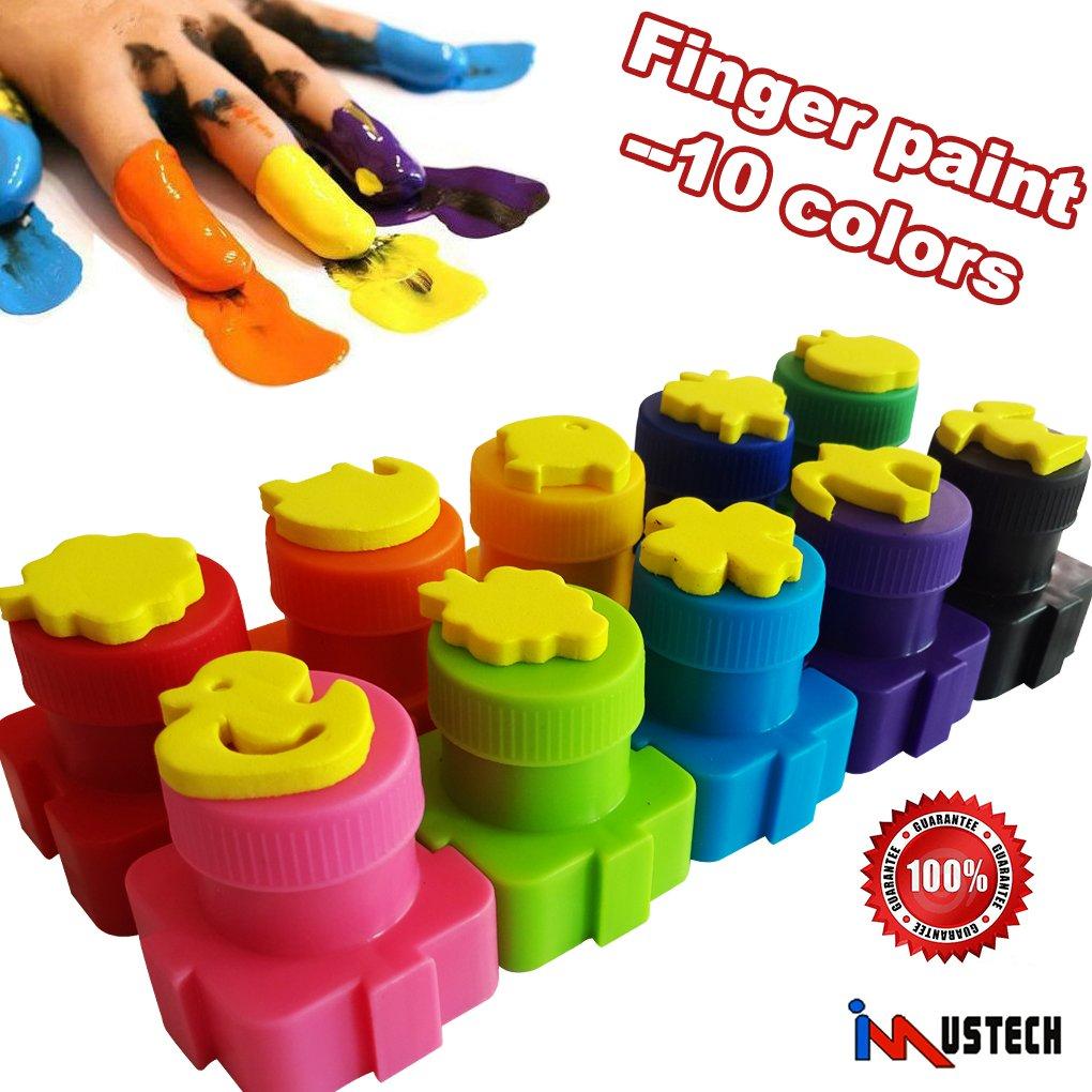 iMustech Washable Finger Paints, 10 Bottle Non Toxic finger Paint for Toddlers, Finger Painting Stamps Set for Kids, Glitter Art Paint Set, Assorted Colors