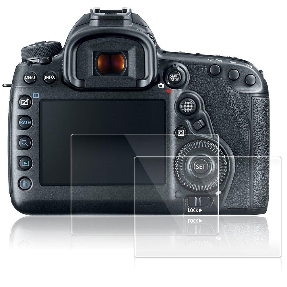 AFUNTA Protectores de Pantalla para Canon EOS 5D MK IV Mark 4, 2 Paquetes Películas de Protección de Vidrio Temperado Antirayas para Cámaras Digitales DSLR: ...