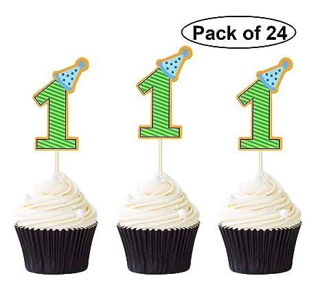 24 piezas de adornos para cupcakes de cumpleaños con tapas ...