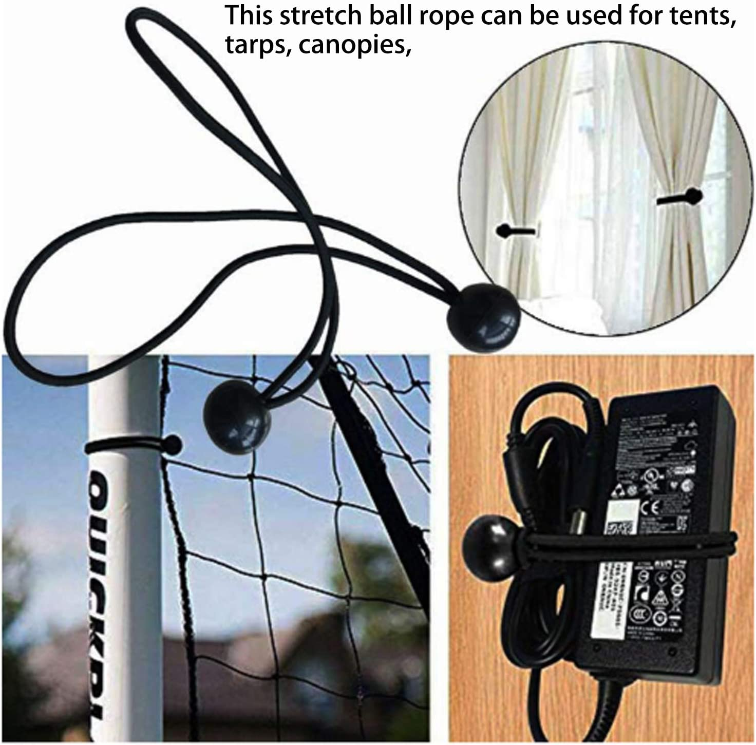 25 Piece Ball Bungee Cords 6 Inch Canopy Tarp Tie Down Cord