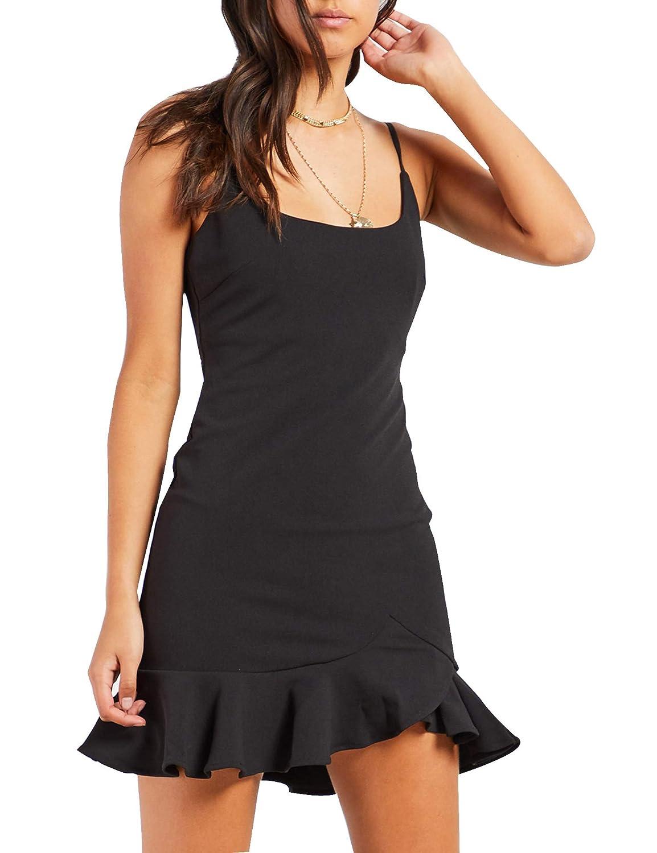 Black Relipop Women's Solid Dresses Ruffle Hem Sleeveless Strappy Plain Short Mini Dress