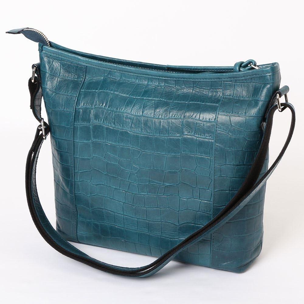 良質牛革 ショルダーバッグ クロコ型押し 本革 日本製 ターコイズブルー No.2587 レディースバッグ (鞄 かばん バッグ) 女性かばん