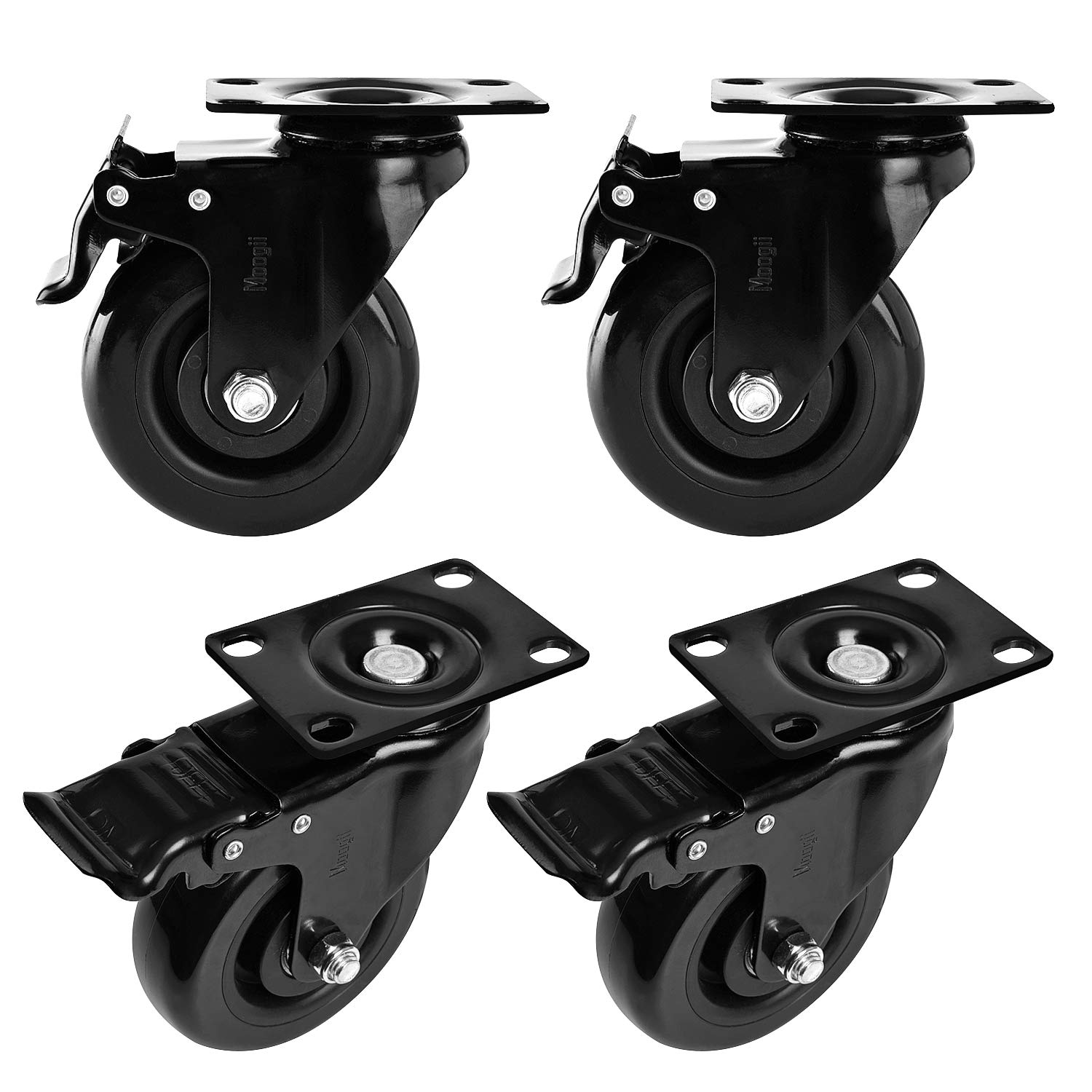Moogiitools 4'' Swivel Rubber Caster wheels with Safety Dual Locking Heavy Duty 1200lbs Casters Set of 4 Black (All with Brake)