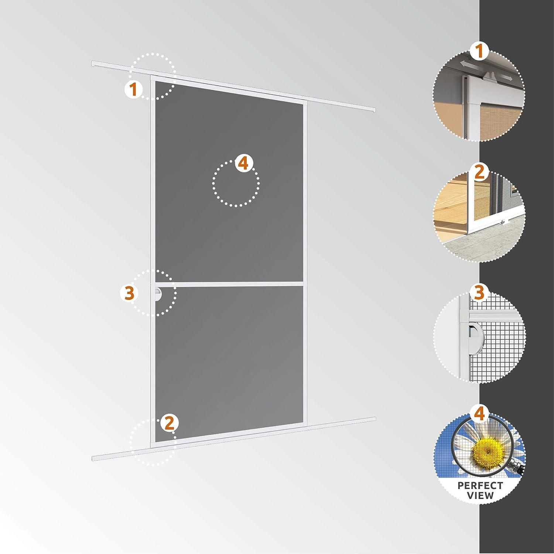 Marco de Aluminio para Puertas 03844 Windhager mosquitera corredera Expert 120 x 240 cm Antracita