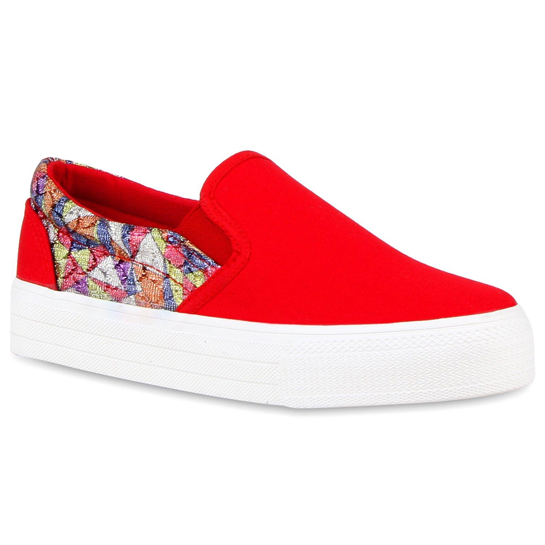 Stiefelparadies Damen Sneaker Slip Ons mit Plateau Glitzer Flandell  36 EU Rot Glitzer