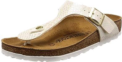 En expansión juego confirmar  Amazon.com | Birkenstock GIZEH Birko-Flor, Women's Flip Flop Heels Sandals,  Off White (Shiny Snake Cream), 5.5 UK (39 EU) | Flip-Flops
