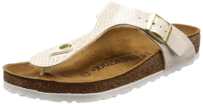 Birkenstock Gizeh Women's Toe Post Sandals 37 M EU /6-6.5 B(M) US Shiny Snake Cream best supportive women's sandals