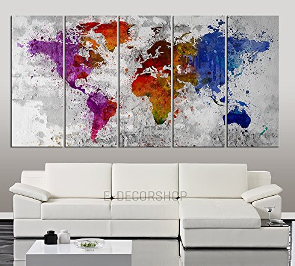 TANDA Extra Large Canvas Colourful Ink Splashed World Map On Gray Wall Background 5 Panel Large Wall Art 80 Inch Total