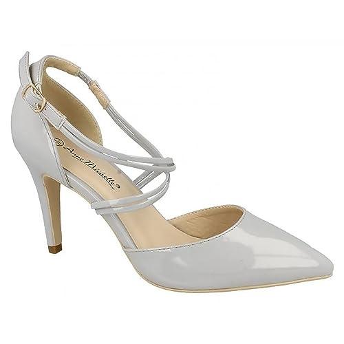 fe8abe71d6d Ladies Anne Michelle Pointed Court Shoes - Grey Patent - Size 3 UK - EU Size