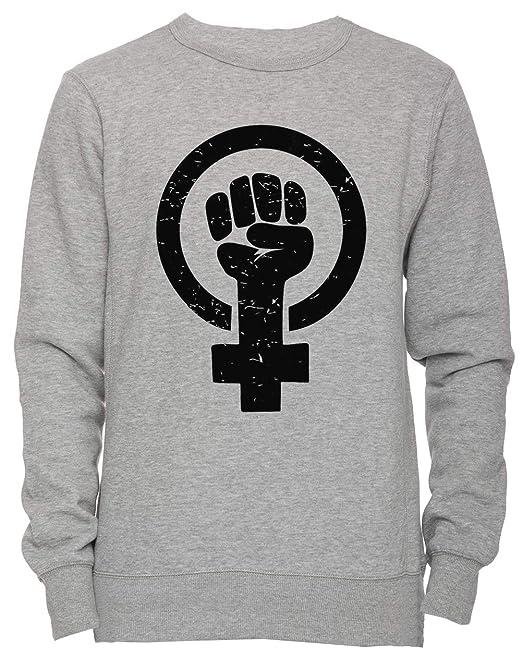 Feminista Elevado Puño - Afligido Unisexo Hombre Mujer Sudadera Jersey Pullover Gris Unisex Los Tamaños Mens Womens Jumper Grey: Amazon.es: Ropa y ...