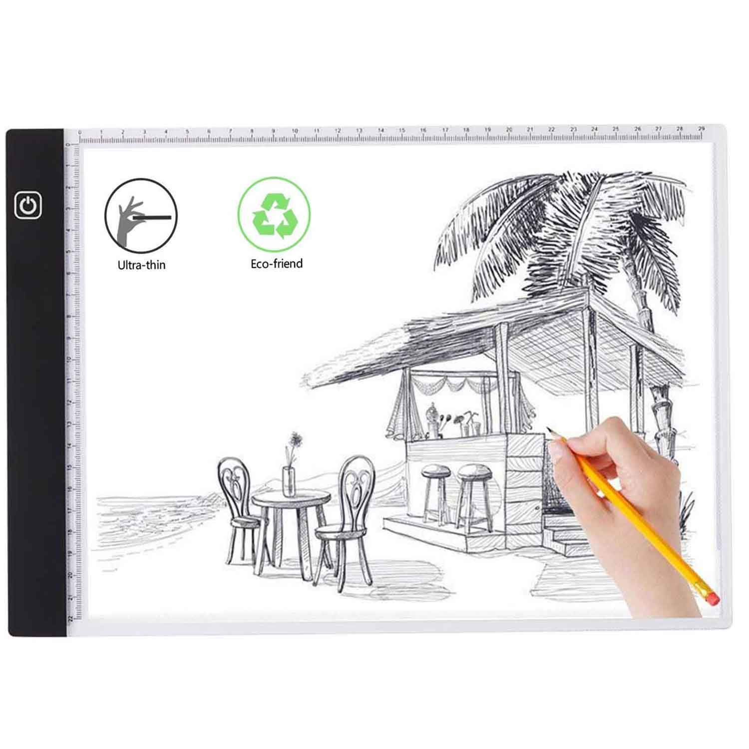 A4 Led Light Box Tracer Dimmable Brightness with Scale,Portable Light Box for Drawing,Sketching,Animation with USB Power Cable.