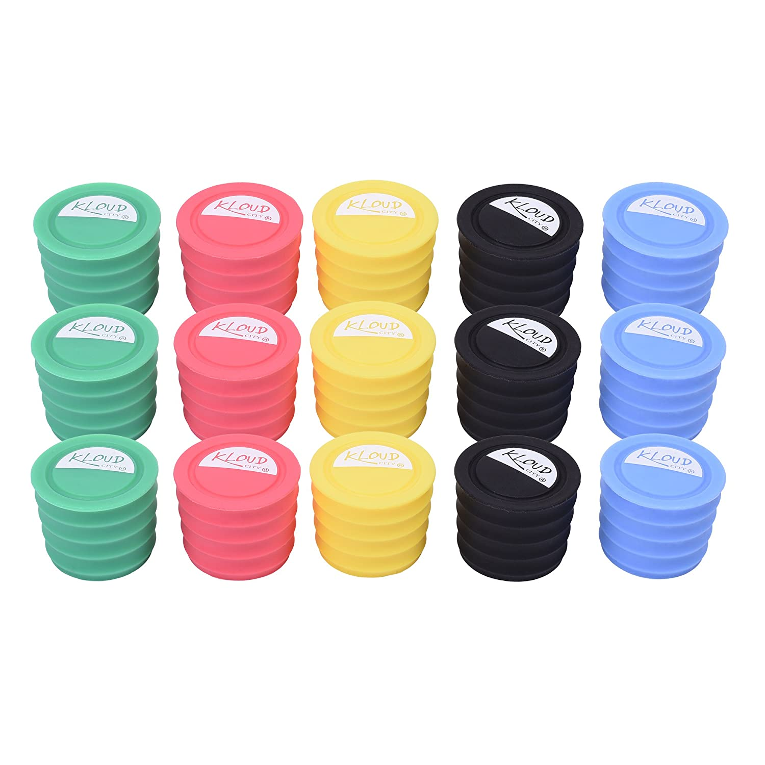 KLOUD City Pack of 15 in 5 Assorted Colors Food Grade Wine Champagne Beer Glass Bottle Caps, Stoppers - Keeps Your Liquor Fresh KC-0735