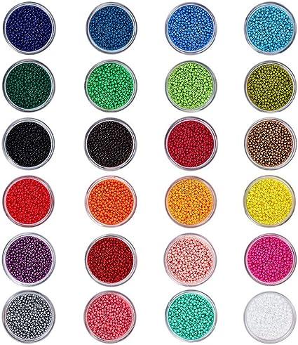 Trou: 0,8mm Kit de Bijoux en Perles de Rocaille en Verre avec Bo/îte Amovible pour la Fabrication de Bijoux PandaHall Environ 1080pc 24 Couleurs Perle de Rocaille en Tube de Verre 1,5~2x1,5~2,5 mm