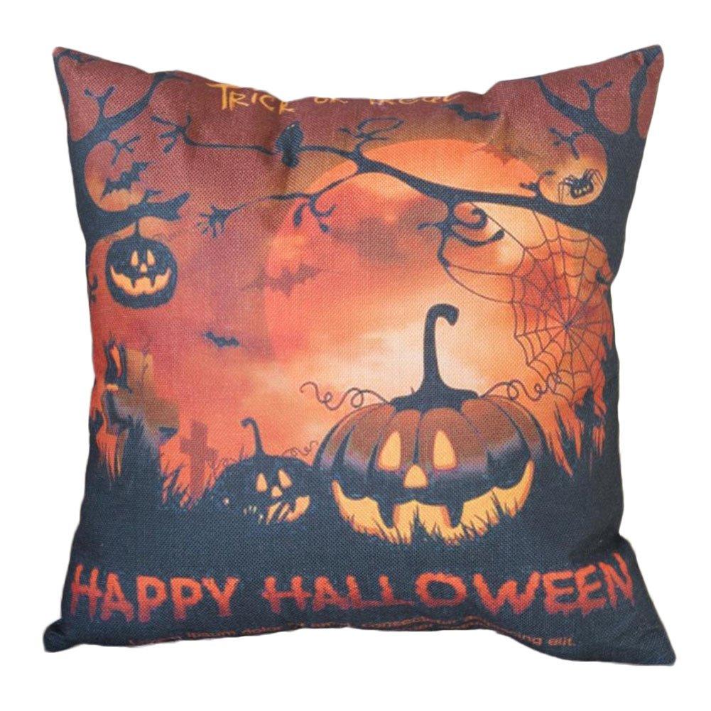 Fablcrew Citrouille d'halloween Taie d'oreiller carré Housse de Coussin en Lin Canapé d'oreiller Office Home Decor, Coton et Lin, Castle, 45 * 45cm