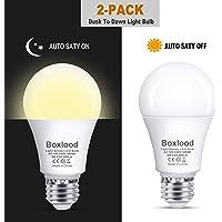 2-Pack Boxlood Dusk to Dawn A19 LED Light Bulb Built-in Light Sensor