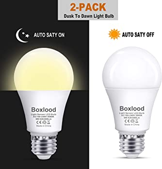 2-Pack Boxlood Dusk to Dawn A19 LED Light Bulb