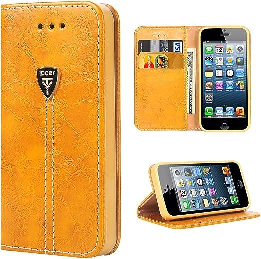 iDoer Étui portefeuille en cuir à rabat magnétique pour iPhone 5 5S SE Orange