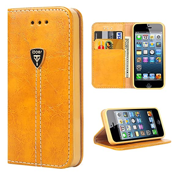 online store 47689 e0f6c iPhone 5s Flip Case, iPhone 5 Case Wallet, iPhone SE Case, iDoer Slim  Magnetic Flip Leather Wallet Built-in 2 Credit Card Holder, Cash Pocket,  Flip ...