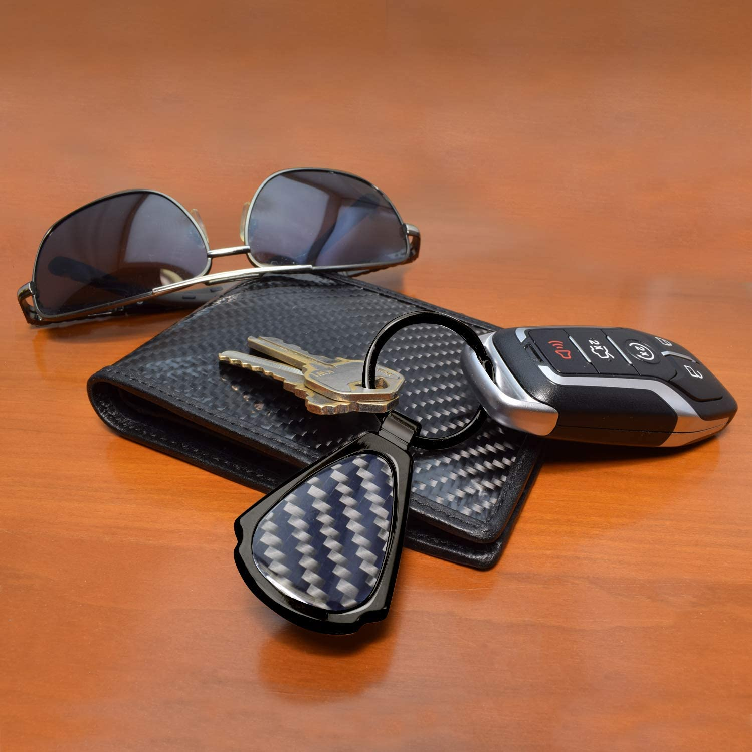 iPick Image for Chrysler Pacifica Real Black Carbon Fiber Gunmetal Black Metal Teardrop Key Chain