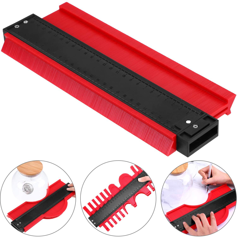 10 inch Contour Gauge Plastic Profile Gauge Multifunctional Shape Duplicator Edge Shaping Measure Ruler for Professional Precise Measurement (Red)