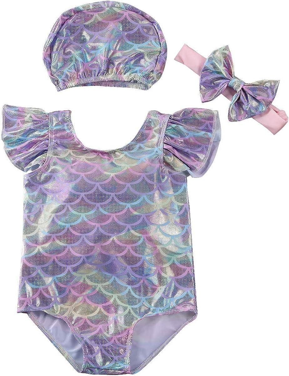 Carolilly Costume da Bagno Intero Bambina Neonata Costume da Bagno Sirenetta Cuffia da Nuoto+Fascia