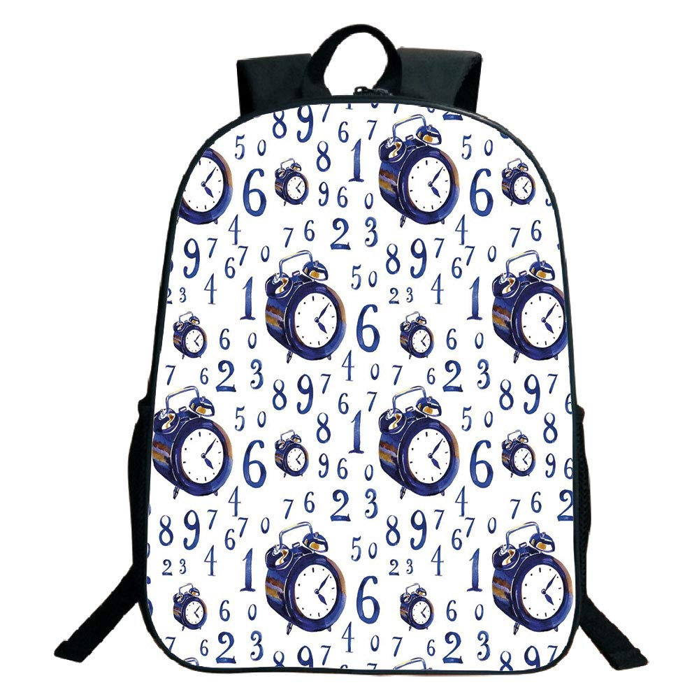 Print Black School Bag,backpacksClock Decor,Watercolor Style Effect an Alarm Clock Illustration Caligraphic Numbers,Blue and White,for Kids,Pictures Print Design.15.7''x 11.8''x 5.1''