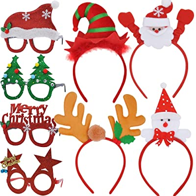 JOYIN 4 Pcs Christmas Headbands and 4 Pcs Christmas Party Glasses Frames, Bundle Set of 8 for Holiday Season Parties Favors, Christmas Photo Booth Props (One Size Fits All): Toys & Games