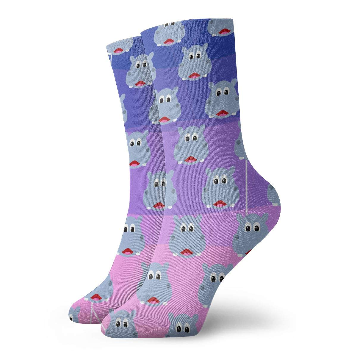 Cute Hippo Face Unisex Funny Casual Crew Socks Athletic Socks For Boys Girls Kids Teenagers
