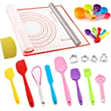 Silicone Spatulas Set, Rolling Pin, Cookie Cutters, Pastry Mat, Measuring Spoons and Cups, Dough Scraper, Cooking Baking Supp