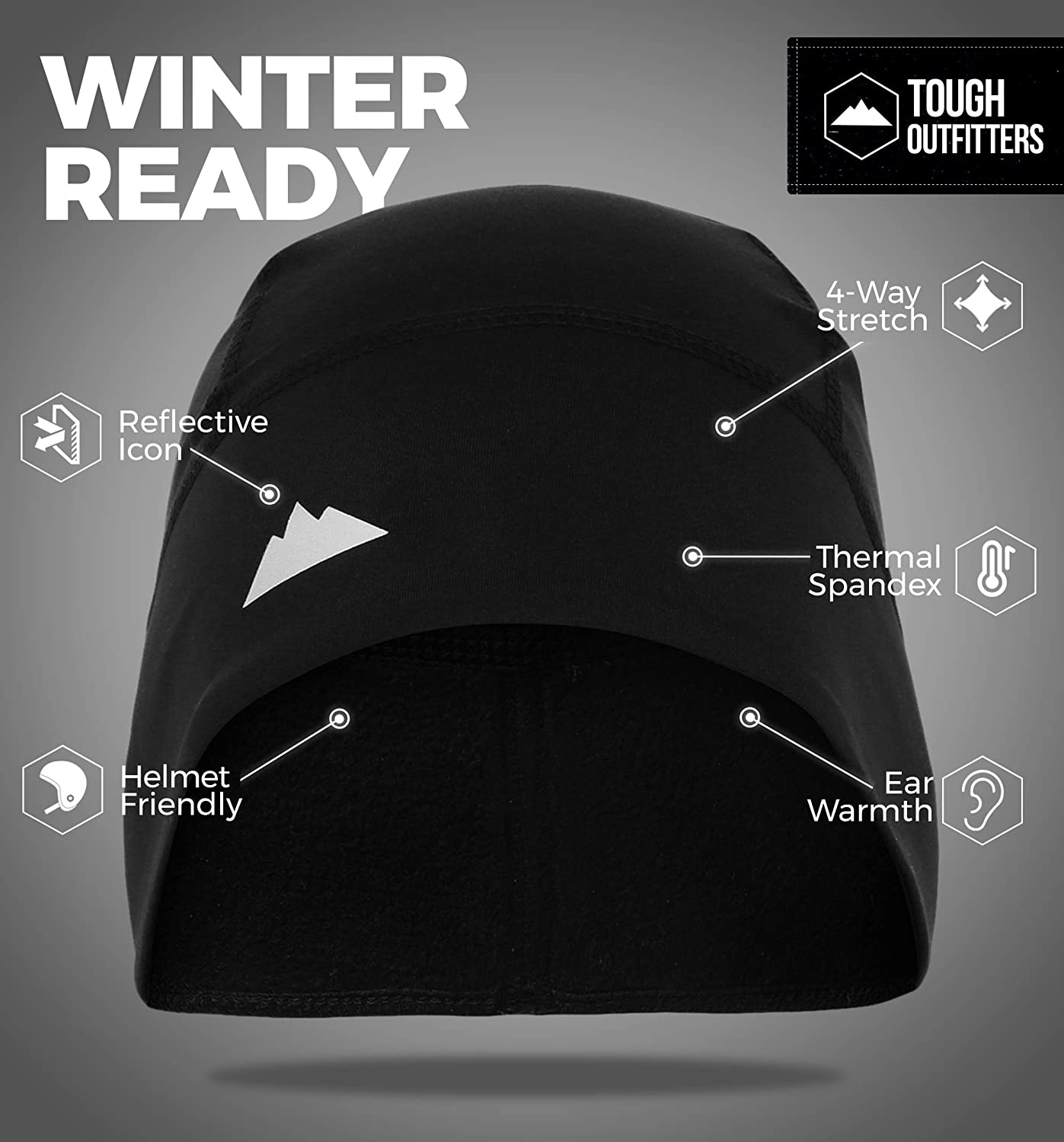 2 Pack Thermal Cycling Caps Wet Wicking Sports Transpirable Running Beanie Helmet Liner para Adultos Mujeres y Hombres TAGVO Skull Cap Orejeras Windproof Tama/ño el/ástico Universal