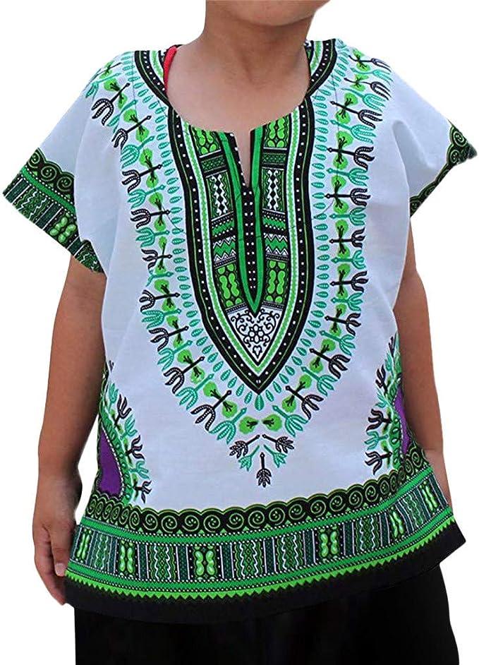 Innerternet-Camiseta de niño, (7-12 años de Edad) Bebes niñas y niños Cuello Redondo Camiseta de Manga Corta de Estampado étnico Africano(Beige/Azul/Verde/Rosa Caliente/Naranja/Púrpura/Blanco): Amazon.es: Ropa y accesorios