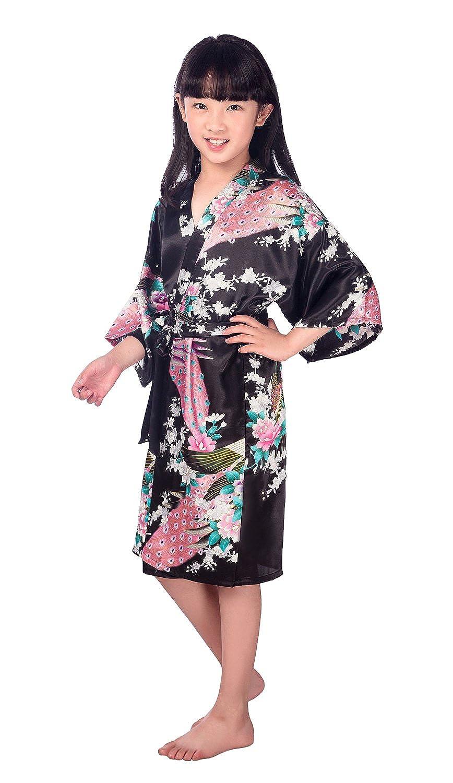 HonourSport kimono Bambine e ragazze vestaglia pigiama accappatoio giapponese lunga estiva