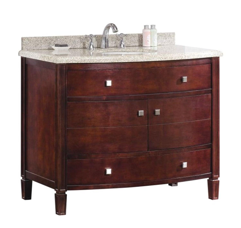 Ove Decors Georgia 42 Bathroom 42-Inch Vanity Ensemble with Sandy Granite Countertop and Ceramic Basin, Tobacco