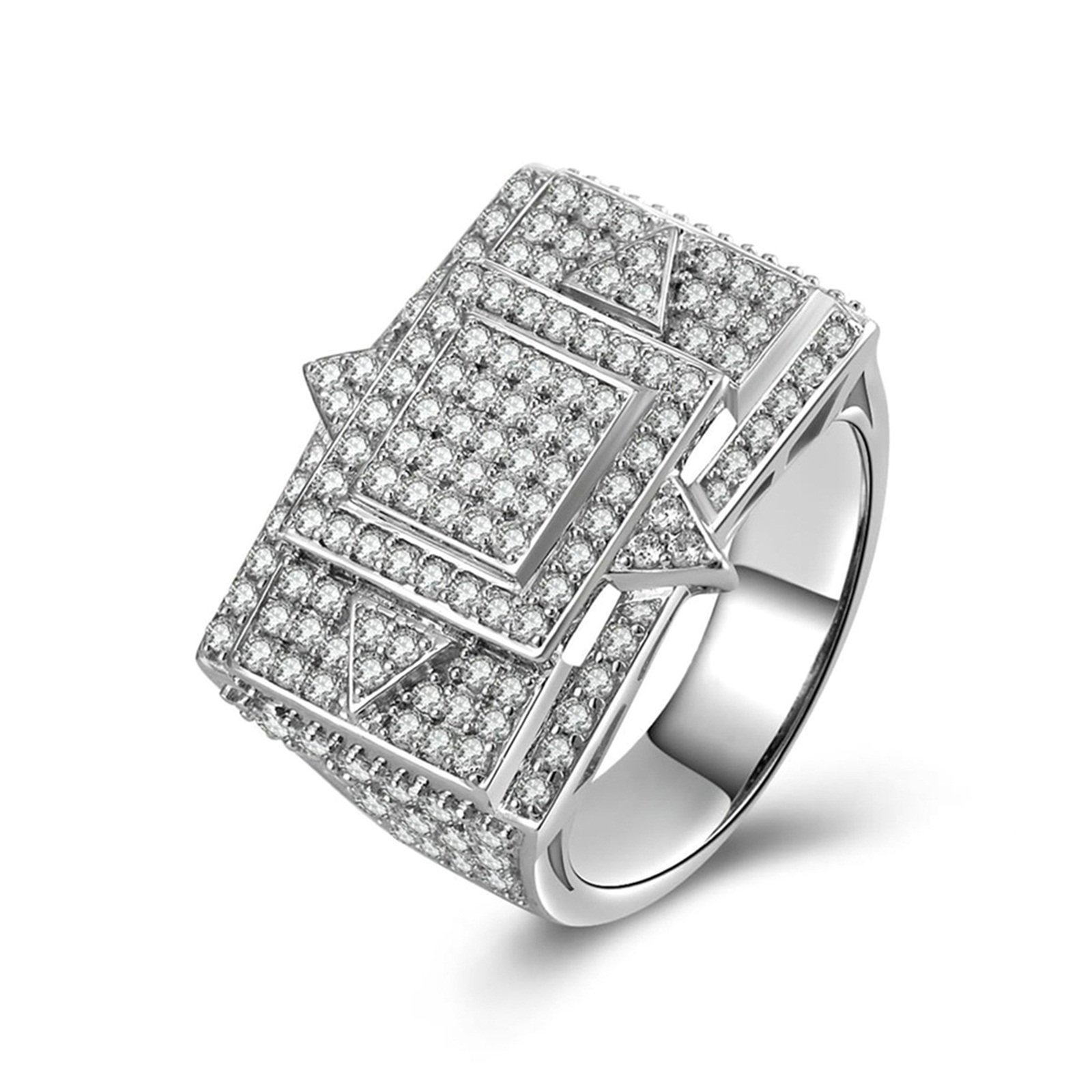 Beydodo Engagement Ring Diamond Iced Out Ring Round White Cubic Zirconia Size 9.5 Anniversary Gift